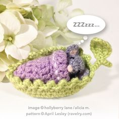 Crochet Toy Mouse Sleeping in Leaf. Available in Custom Colors by…