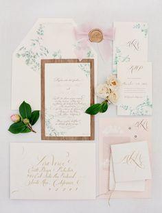 Botanical calligraphy wedding invitation / photo: Jose Villa Photography