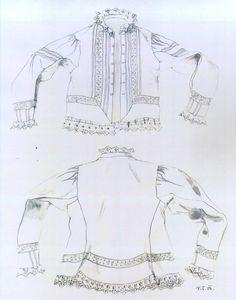 Ženská blúza, Suchá Hora, prvá štvrtina 20. storočia. Blúza, kabát je ušitá z tenšieho továrenského bavlneného plátna, mušelínu. Nie je podšitá. Strihaná je do pásu, siahala niečo niže pása. Zdobená je našitými ozdobnými šnúrkami. Blúzy sa šili aj z kartúnu alebo delénu. Nosili sa v chladné dni v letnom období. Rozdiel medzi kabátikom a blúzou je ten, že kabátik je vždy podšitý a blúza nie. Biela farba blúzy naznačuje, že ide o odevnú súčiastku, ktorá tvorila súčasť svadobného odevu mladuchy. Historical Costume, Folk, Ruffle Blouse, European Countries, Costumes, Sewing, Czech Republic, Fantasy, Times