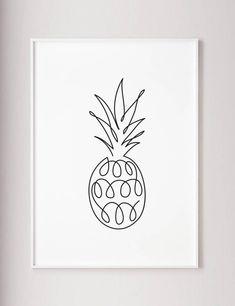 Pineapple print Pineapple wall art Abstract line art One line drawing Modern Minimalist Wabi Sabi Kitchen room decor Large wall art One Line Tattoo, Line Tattoos, Band Tattoo, Tattoo Ink, Sleeve Tattoos, Pineapple Drawing, Pineapple Art, Pinapple Tattoos, Arte Linear