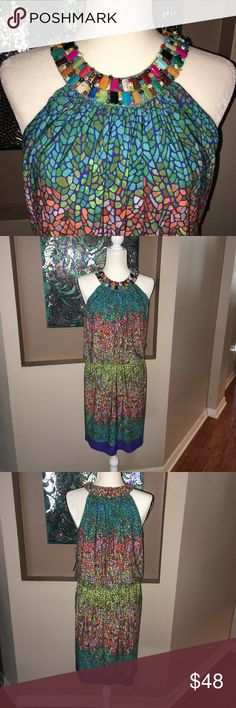 Multi-colored stone mosaic dress Bright bursts of color in lime, teal, orange, purple. Beautiful stones adorn the neck. All stones in tact.  Knee length. NWT London Times Dresses Midi