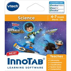 In InnoTab Miles from Tomorrowland by VTech, explore outer space with Miles and the rest of the Callisto family! As Miles travels the universe, help him complete exciting missions for the Tomorrowland Transit Authority and learn about planets in our solar system and other science concepts. Your child will love playing seven mini games in easy or difficult mode based on their age and ability level. The difficulty increases as your little learner progresses through each game. Then they can…