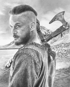 """""""Ragnar"""" Graphite and charcoal on Bristol paper. Art by Alexandra Louie. Framed Prints, Canvas Prints, Ragnar, Vikings Rollo, Bristol, Graphite, Drawings, Paper Art, Artwork"""
