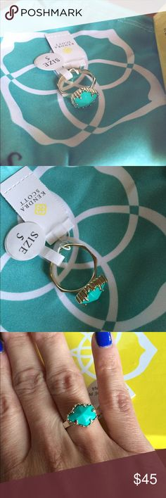 "K e n d r a  S c o t t  J u d y  R i n g 💠 Kendra Scott Color Bar Judy Ring in Teal. NWT. Size: 5. • 3/8""W x 1/2""L setting. • 14k gold plate/glass or magnesite. Comes with box and dust bag! Kendra Scott Jewelry Rings"