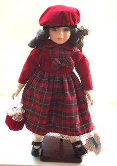 Vintage Tartan Porcelain Doll, Vintage Porcelain Doll (1980's)-RARE by BunkysVintageCrafts on Etsy