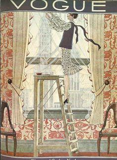 Vogue magazine cover 1928 Step Ladder Window Display Wallpaper Fashion Illustration Vogue Poster Art Deco Home Decor Print Fine Art (8.00 GBP) by OLDBOOKSMAPSPRINTS