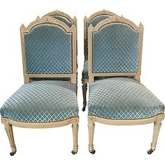 French Louis XVI-Style Painted Chairs - Chez Marie Antiques - Brands One Kings Lane Fire Pit Table And Chairs, Toddler Table And Chairs, Louis Xvi, One Kings Lane, Velvet Furniture, Furniture Chairs, French Dining Chairs, Cheap Adirondack Chairs, Painted Chairs