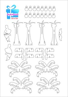 Christmas Coconut tree – 3D Pop-Up Card / kirigami pattern 1