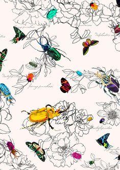 It's a Bug's Life - Print Project 2013 Camilla Atkins on Behance Motifs Textiles, Textile Prints, Textile Patterns, Print Patterns, Tableaux D'inspiration, Conversational Prints, Bug Art, A Bug's Life, Insect Art