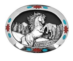 """A Wild Mustang design is featured on this beautiful buckle made of lead-free pewter with a turquoise and coral chip inlay. Features finely detailed art. Made in the USA. 3"""" x 2-1/2"""""""