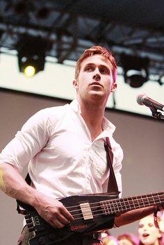 He plays the bass guitar