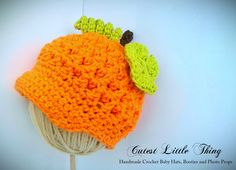 Baby Pumpkin Hat, Photo Prop, Crochet Baby Hat, Fall. $20.00, via Etsy.