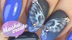 Матовый маникюр и Глянцевые бабочки на ногтях. Дизайн ногтей с Рисунком ...