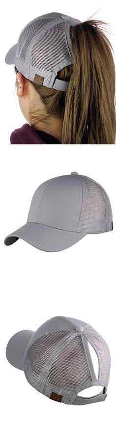 C.C Ponycap Messy High Bun Ponytail Adjustable Mesh Trucker Baseball Cap Hat 8de445aab599