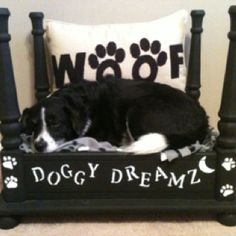 DIY dog bed made from an upside down side table!