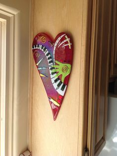 Made for my husband by Melissa Campbell - Fused Glass Paper Mache Clay, Paper Mache Crafts, Clay Art, Glass Wall Art, Fused Glass Art, Mosaic Glass, Stylo 3d, Paperclay, Heart Art
