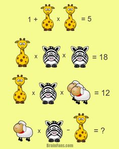 Brain teaser - Number And Math Puzzle - Hard math puzzle for geniuses - Animal puzzle just waiting for you! Giraffe, zebra and sheep - find the numbers instead of pictures. Remember the equations should match.
