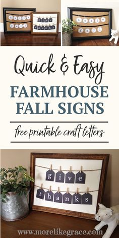 Diy fall crafts 557250153893590225 - DIY Farmhouse Fall Decor Signs – More Like Grace Source by Fall Decor Signs, Home Decor Signs, Fall Signs, Diy Signs, Fall Home Decor, Thanksgiving Crafts, Easy Fall Crafts, Fall Diy, Thanksgiving Decorations