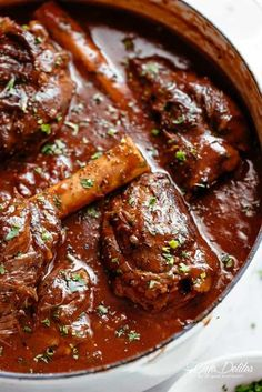 Tender, fall off the bone easy braised Lamb Shanks in a luxuriously delicious red wine gravy! Oven, stove top, slow cooker or Instant pot. Lamb Chop Recipes, Meat Recipes, Slow Cooker Recipes, Cooking Recipes, Recipies, Roasted Lamb Shanks, Braised Lamb Shanks, Lamb Shanks Oven, Lamb Shanks Slow Cooker
