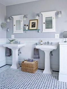 pair of pedestal sinks, gray, beadboard, and basket-weave tile. ------------------- White pedestal sink looks awesome with white beadboard behind it! Bathroom Floor Tiles, Bathroom Renos, Small Bathroom, Master Bathroom, Bathroom Vintage, Bathroom Ideas, Vintage Tile, White Bathroom, Bead Board Bathroom