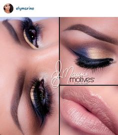 Gold & Navy eyeshadow, nude lips #ElyMarino #Motives #WakeUpAndMakeup