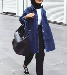 Oversized jeans jacket actual scarf is the most essential bit while in the clothes of Modern Hijab Fashion, Muslim Fashion, Trendy Fashion, Fashion Outfits, Casual Hijab Outfit, Hijab Chic, Mode Turban, Hijab Trends, Hijab Fashionista