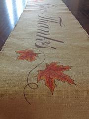 Burlap Thanksgiving Table Runner Maple Leaves - Ad Crucem