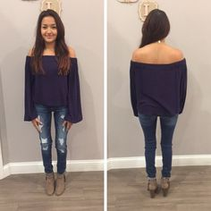 We LOVE this simple, off the shoulder top in navy! - $36 #newarrival #fallfashion  #apricotlanedesmoines #shoplcoal #shopalb #aldm #valleywestmall #apricotlane #apricotlaneboutique #fashion #fall #ootd #westdesmoines #shopaldm #shopapricotlaneboutiquedesmoines #ontrend #fashionista