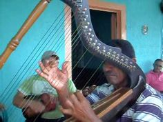 The arpa llanera is a harp that features prominently in music of the llaneros, Venezuelan/Colombian cattle herders. // arpa llanera maestro juan 14
