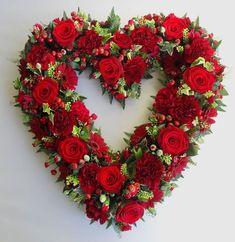 OPEN HEART, £100.00 Valentine Flower Arrangements, Funeral Floral Arrangements, Valentines Flowers, Valentine Wreath, Valentine Decorations, Grave Flowers, Cemetery Flowers, Funeral Flowers, Funeral Tributes