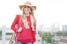 Burgandy top + floppy hat for fall!! // A Touch of Pink Blog