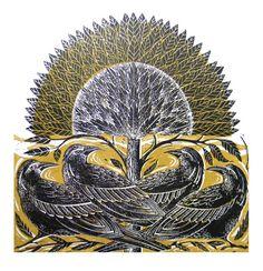 Four Crows Original Lino Cut Print Yellow by Amanda Colville of Mangleprints
