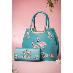 50s Flamingo Handbag in Blue