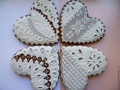 Lace Cookies, Mother's Day Cookies, Sugar Cookies, Heart Shaped Cookies, Heart Cookies, Biscuit Cookies, Valentines Day Desserts, Valentine Cookies, Valentines Day Hearts