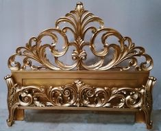 French Gilt Beds in Antique Gilt Styles, Art Nouveau, Louis XV, Cheri, Carved Mahogany Reproductions & Mahogany Scroll Work. Steel Bed Design, Wood Bed Design, Art Nouveau, Antique Headboard, Art Deco Bed, Riverside Furniture, Wood Carving Designs, Iron Furniture, Iron Decor