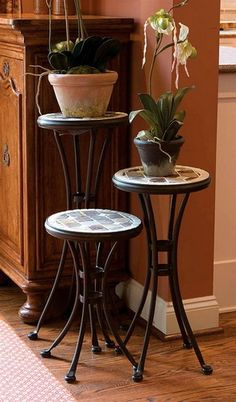 Indoor Round Plant Stands with Wrought Iron Frames