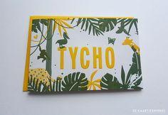 Letterpress geboortekaartje jungle in twee kleuren Tycho Letterpress, Children, Kids, Print Design, Baby Boy, Illustration, School, Google, October