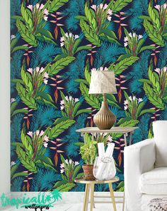 Tropical Jungle Leaf and Bird Wallpaper  Removable by TropicWall