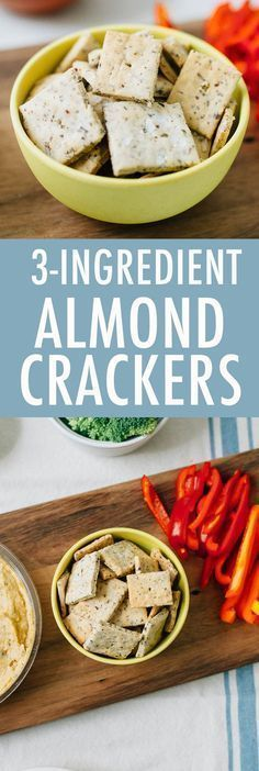 Grain-Free Homemade Almond Crackers made with only 3 Ingredients. #paleo #vegan