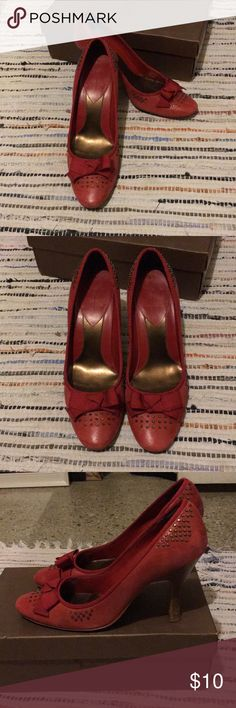 Linea Paolo red and brass pumps There's no place like home! These little beauties are modern day ruby slippers. Brass studs give these classic pumps a cool edge while grosgrain trimming keeps them sweet. Perfect for work or play! Lightly worn. Paolo Shoes Heels