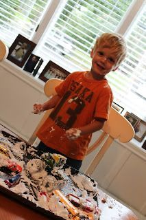 Rev up playtime for your car-crazed son with shaving cream that he can drive his favorite Hot Wheels through—and afterward, you can create a car wash for them!
