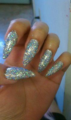 Custom pale blue rhinestone glitter almond nails