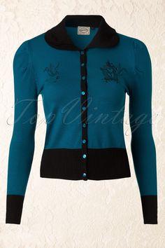 Banned - 60s Birdies Collar Cardigan in Dark Blue #proudtohave