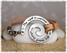 Leather Bracelet with Spiral  - Unisex - Hand Stamped - Personalized Jewelry - Women - Men. $30.00, via Etsy.