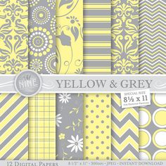 YELLOW & GREY Patterns 8 1/2 x 11 Digital Paper