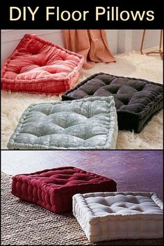 DIY Floor Pillows – Craft projects for every fan! Kids Floor Cushions, Large Floor Pillows, Kids Pillows, Diy Mattress, Mattress On Floor, Diy Home Crafts, Diy Home Decor, Pillow Crafts, Easy Sewing Projects