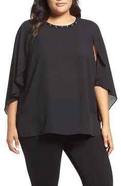 0746437efd9d68 Vince Camuto Embellished Cape Sleeve Blouse (Plus Size) available at   Nordstrom Vince Camuto