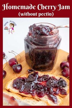 This cherry jam recipe is simple, easy and no fuss. A small batch of good wholesome homemade all-natural cherry jam using less sugar, no artificial pectin Cherry Recipes Healthy, Cherry Jam Recipes, Strawberry Jam Recipe, Raspberry Recipes, Jelly Recipes, Sweet Recipes, Cherry Jam Recipe Without Pectin, Fruit Recipes, Recipies
