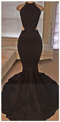 2016 Black Mermaid Backless Evening Gowns Backless Prom Dresses