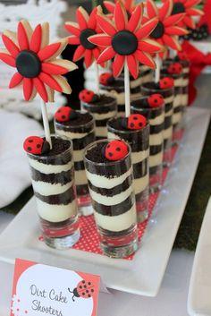 Tiny parfait shots at a Ladybug Party #ladybug #party